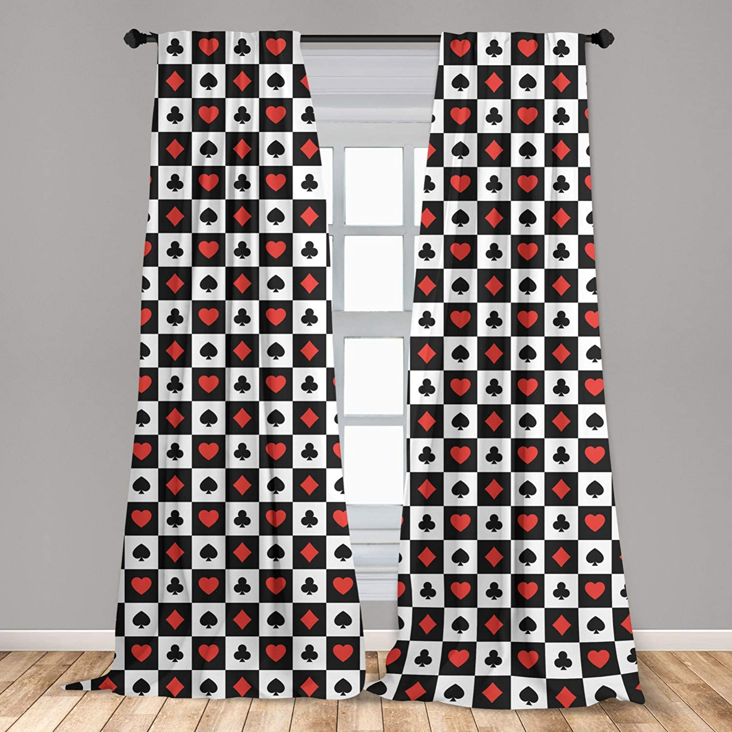 Lunarable Poker 2 Panel Curtain Set, Illustration of Poker Card Suits in Checkered Squares Spades Hearts and Clubs, Lightweight Window Treatment Living Room Bedroom Decor, 56