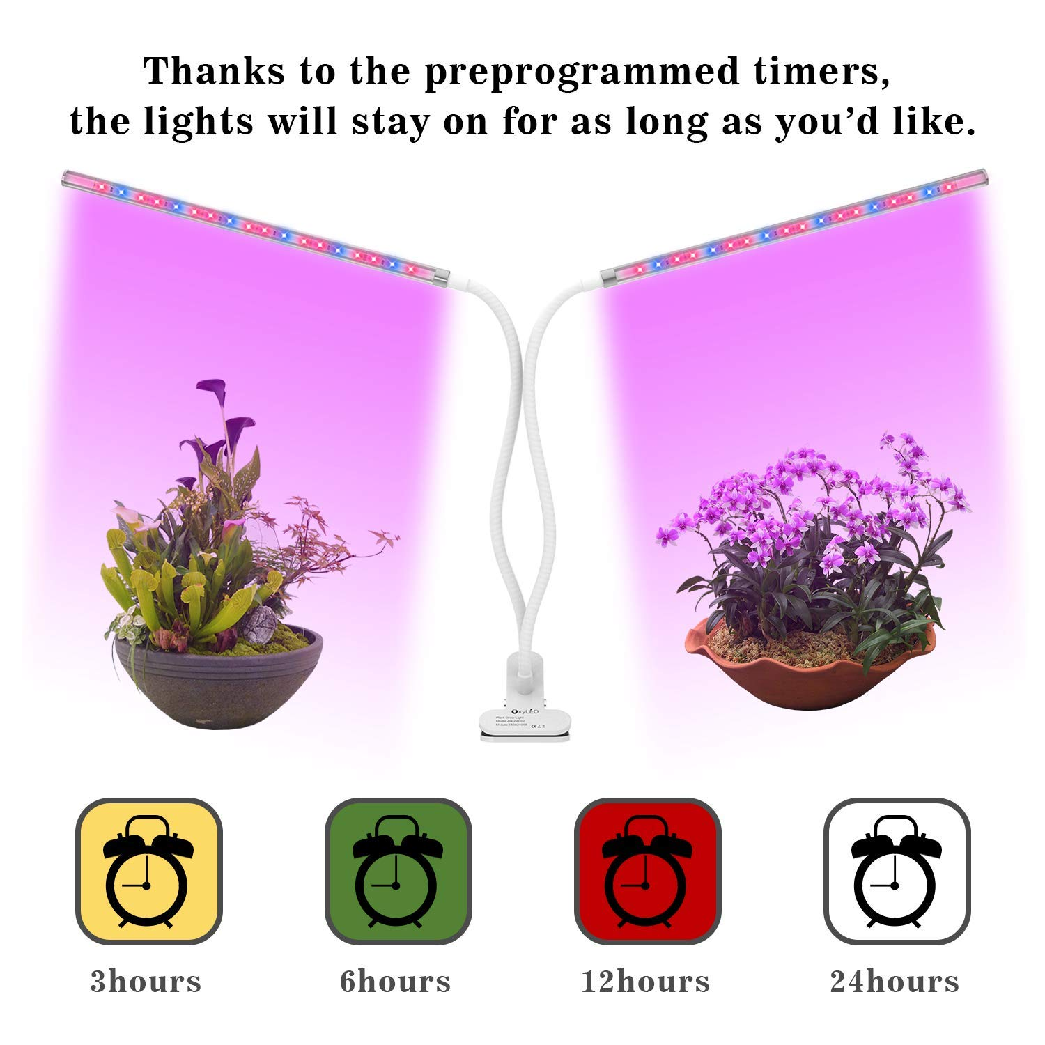 OxyLED Grow Light for Indoor Plants, Timing Function Dual Head Plant Light, 36 LED 5 Dimmable Levels Grow Lamp with Flexible Gooseneck for Hydroponics Greenhouse Gardening by OxyLED (Image #1)