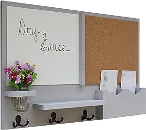 Legacy Studio Decor Message Center with White Board & Cork Board Letter Holder Coat Rack Key Hooks (Smooth, Gray)
