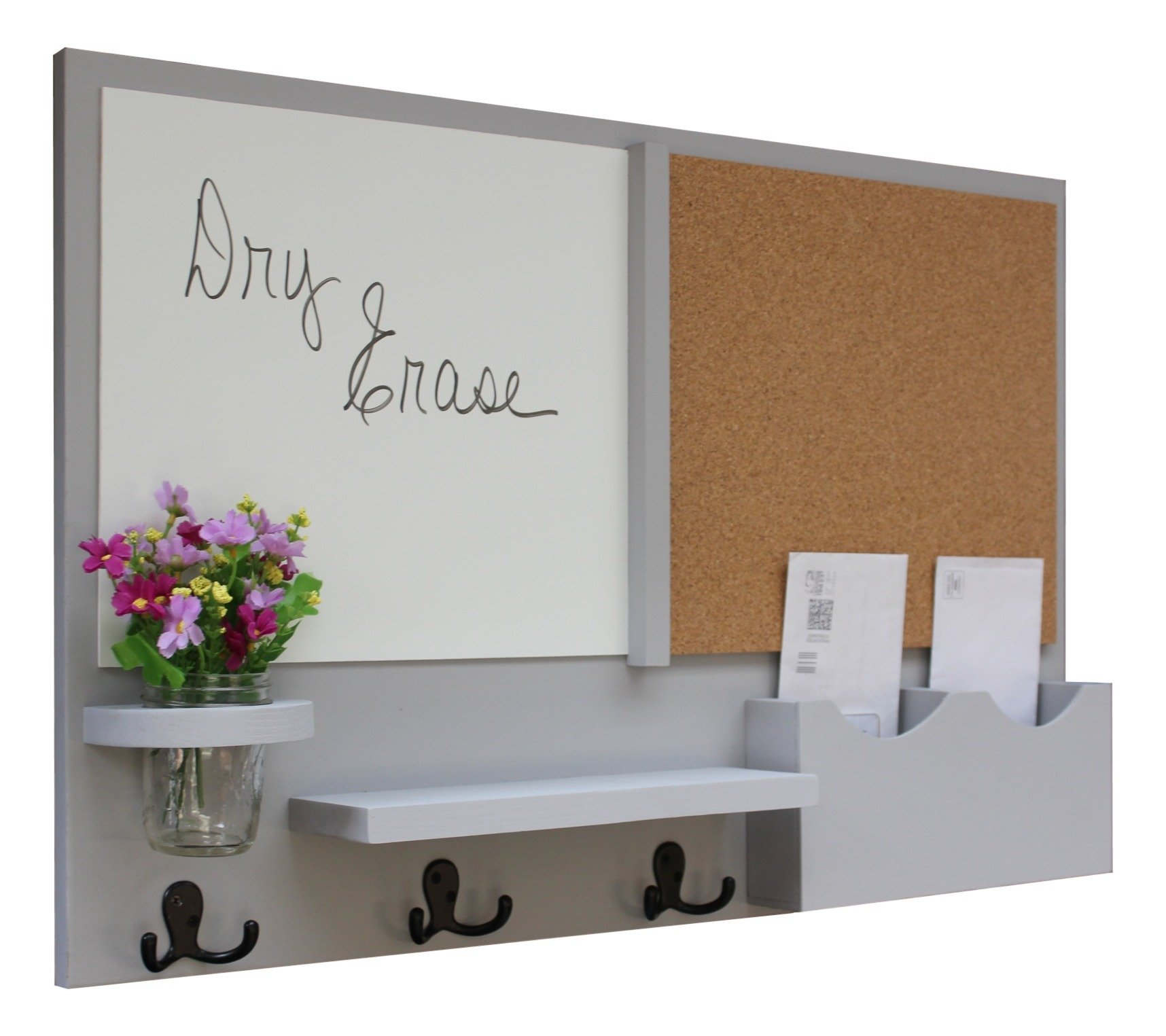 Legacy Studio Décor Message Center with White Board & Cork Board Letter Holder Coat Rack Key Hooks (Smooth, Gray)