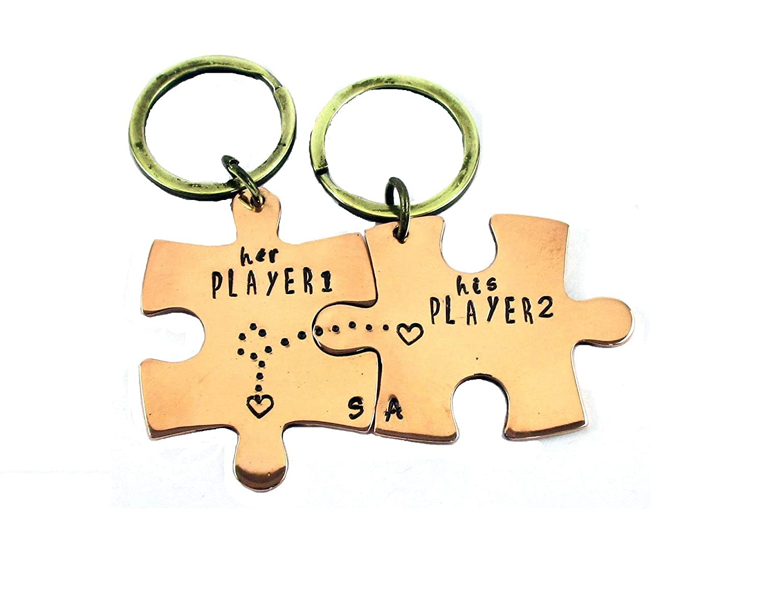 Streetsoul Valentine Keychain Personalized Hand Stamped Keyring Pure Copper Jigsaw  Puzzle Keyring on Gift for Women   Men  Amazon.in  Bags 772a13e88e