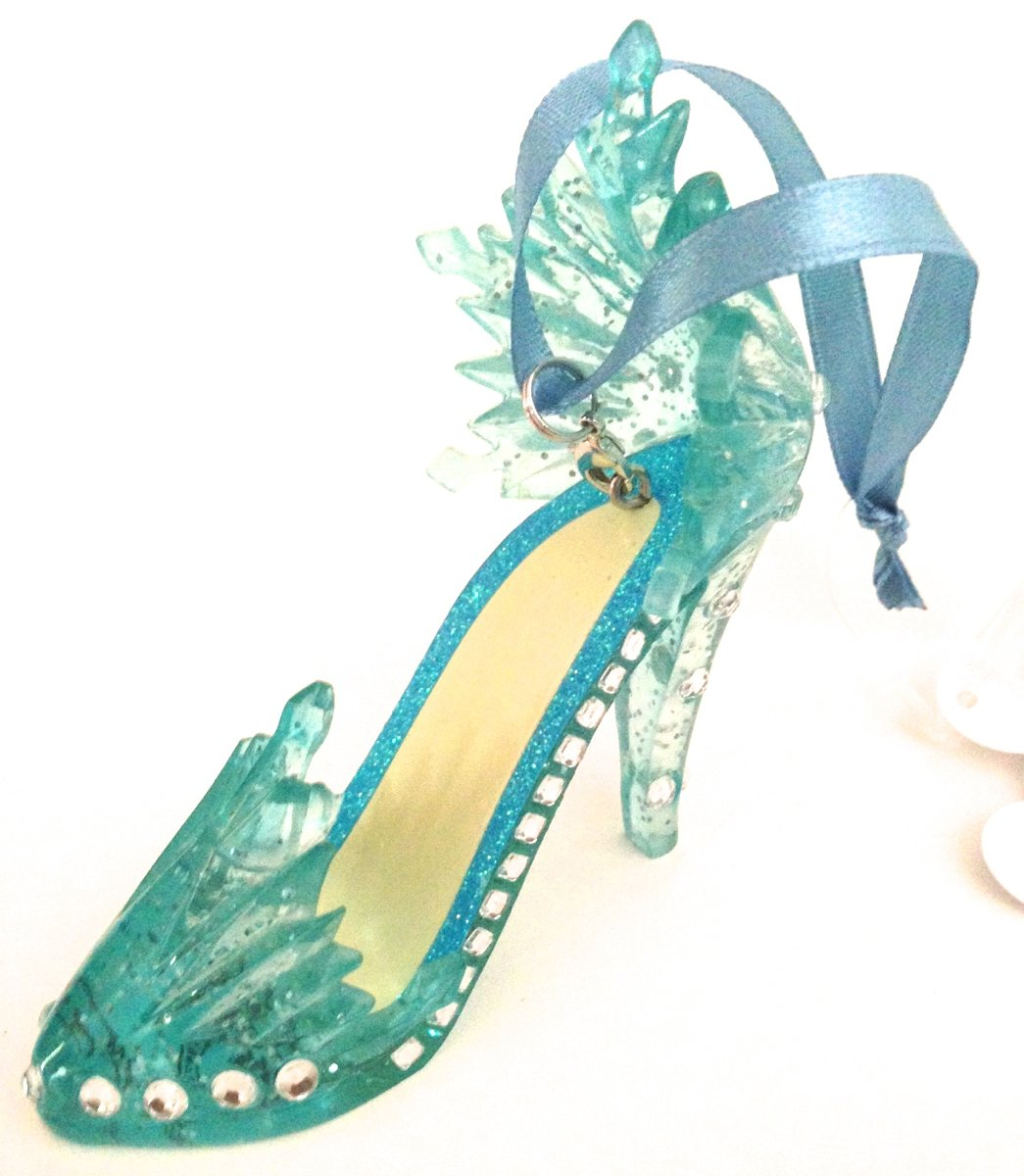 ice cool blue silver high heel shoe hanging ornament figurine