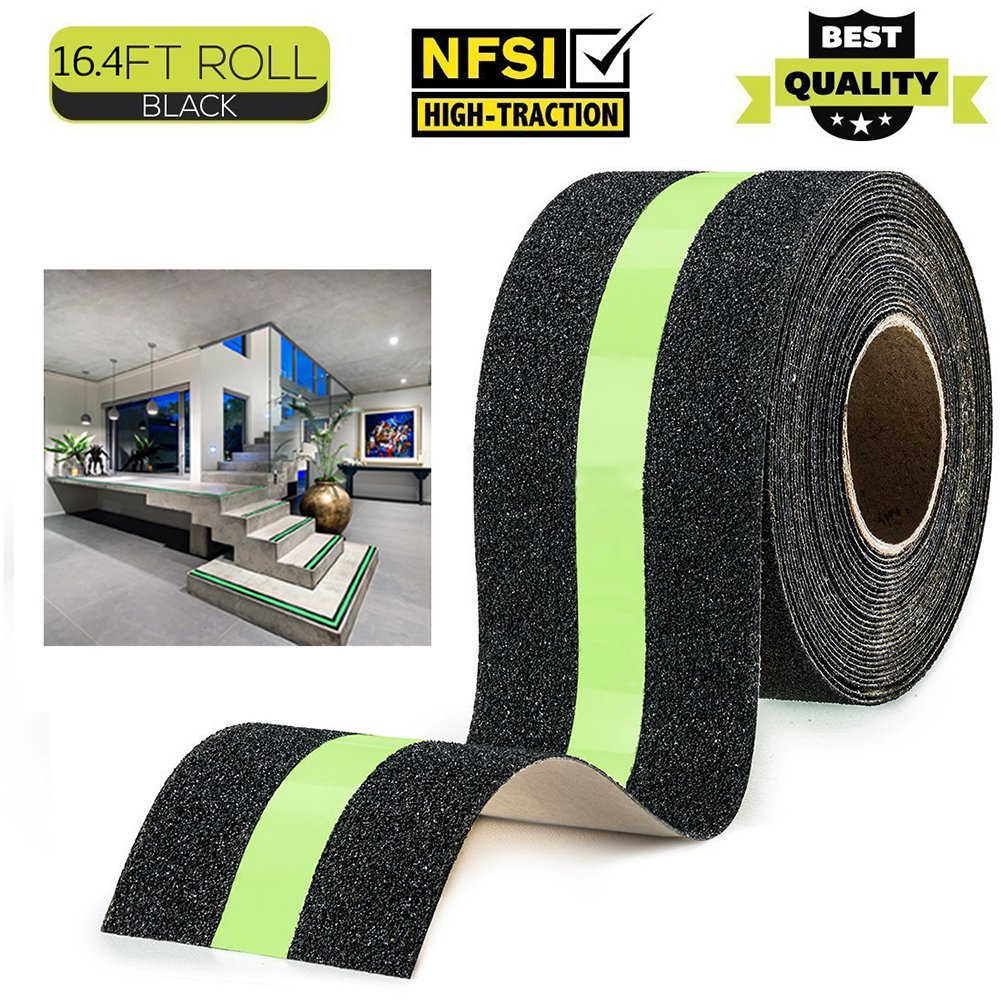 Anti Slip Tape Linassy Safety Grip Traction Tape with Glow in the Dark Reduce the Risk of Slipping, for Indoor Outdoor Stair Tread Step or Other Slippery Surfaces 2 Inch x 16.4 Foot -Black Green