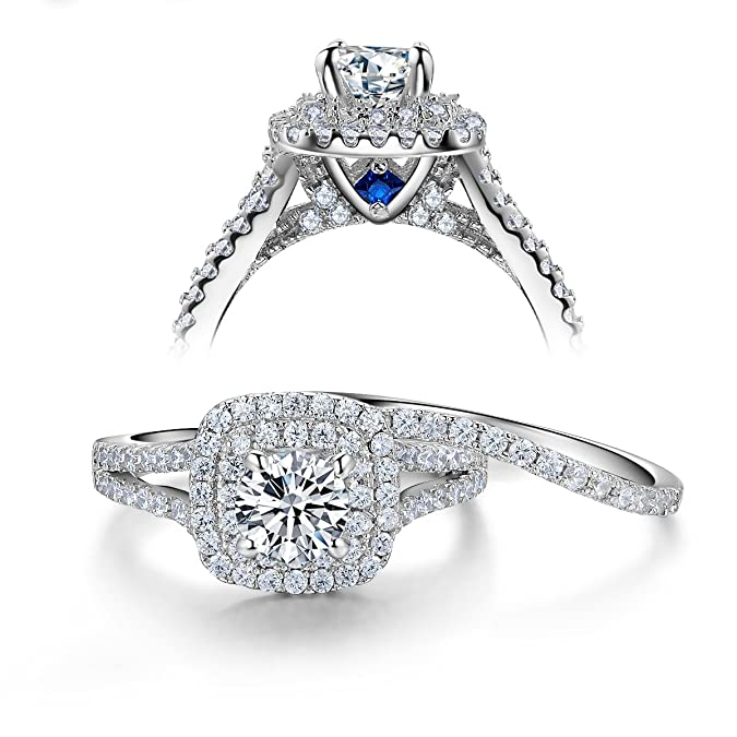 Review Newshe Wedding Engagement Ring Set 925 Sterling Silver 2ct Round Created Blue Sapphire White Cz 5-10