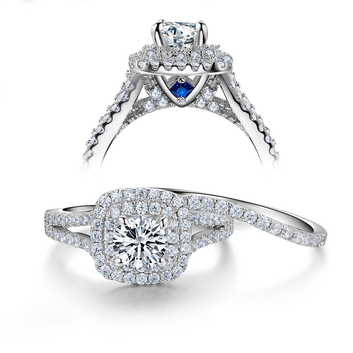 Newshe Wedding Engagement Ring Set 925 Sterling Silver 2ct Round Created Blue Sapphire White Cz Sz 7