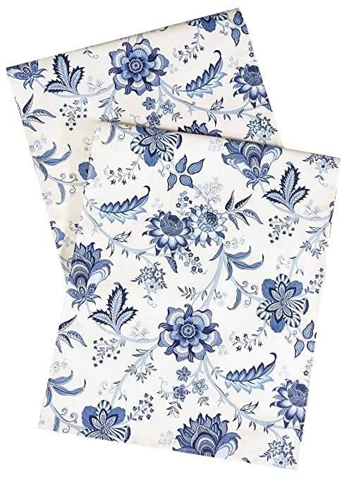 Amazoncom White Blue Table Runner Table Decorations Table Cloth