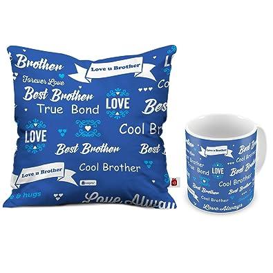 Indi ts Raksha Bandhan Gifts for Brother Best Bhaiya True Bond Quote Printed Cushion 12
