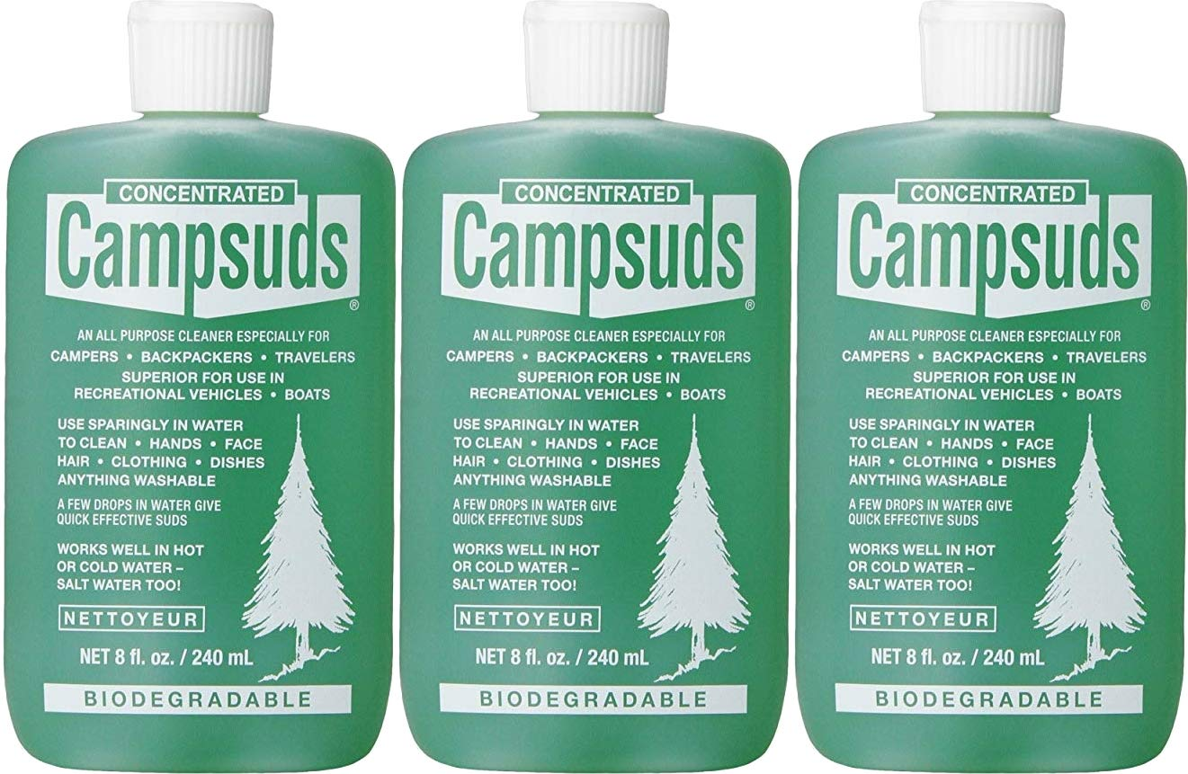 Sierra Dawn Campsuds Outdoor Soap Biodegradable Environmentally Safe All Purpose Cleaner, Camping Hiking Backpacking Travel Camp, Multipurpose for Dishes Shower Hand Shampoo (8-Ounce, 3 Bottles)