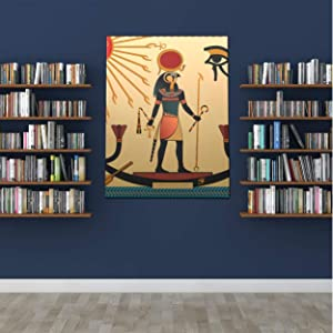 WUwuWU Wall Art Ancient Ethnic Tribal Culture Egypt Totem Art African Anubis Sun God Wall Decor Art Canvas 1.5 Inch Thick Stretched Artwork Ready to Hang Wall Decor On Canvas