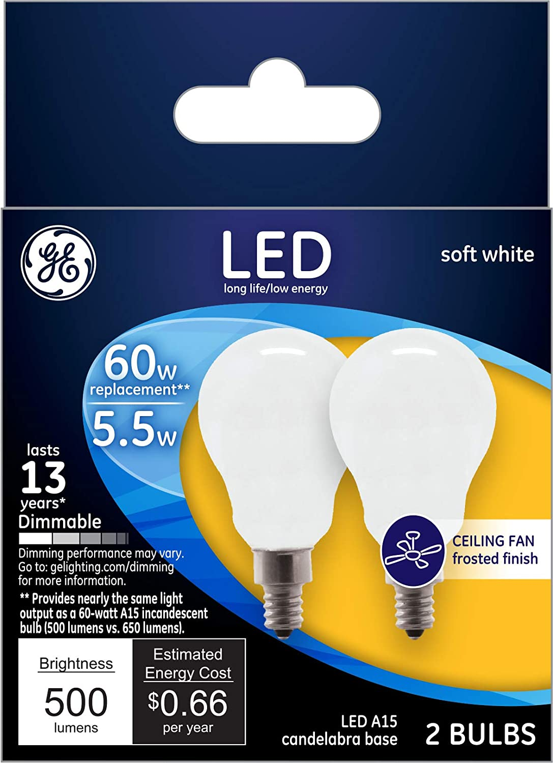 60-Watt Replacement GE Lighting 24949 Dimmable Soft White Bulb 5.5 Medium Base A15 Ceiling Fan//Appliance LED 12-Pack Candelabra Frosted 500-Lumen
