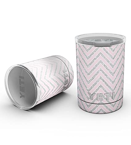 c05da2d1aa5 Design Skinz Decal Skin-Kit Wrap for Yeti Drinkware - Pink and Silver  Glitter Chevron