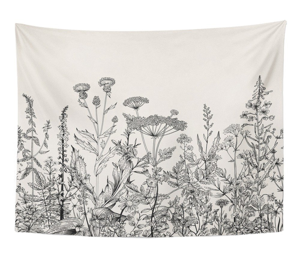 """Emvency Tapestry Floral Border Herbs and Wild Flowers Botanical Engraving Style Black and White Home Decor Wall Hanging 60"""" x 80"""" Inches Print for Living Room Bedroom Dorm"""