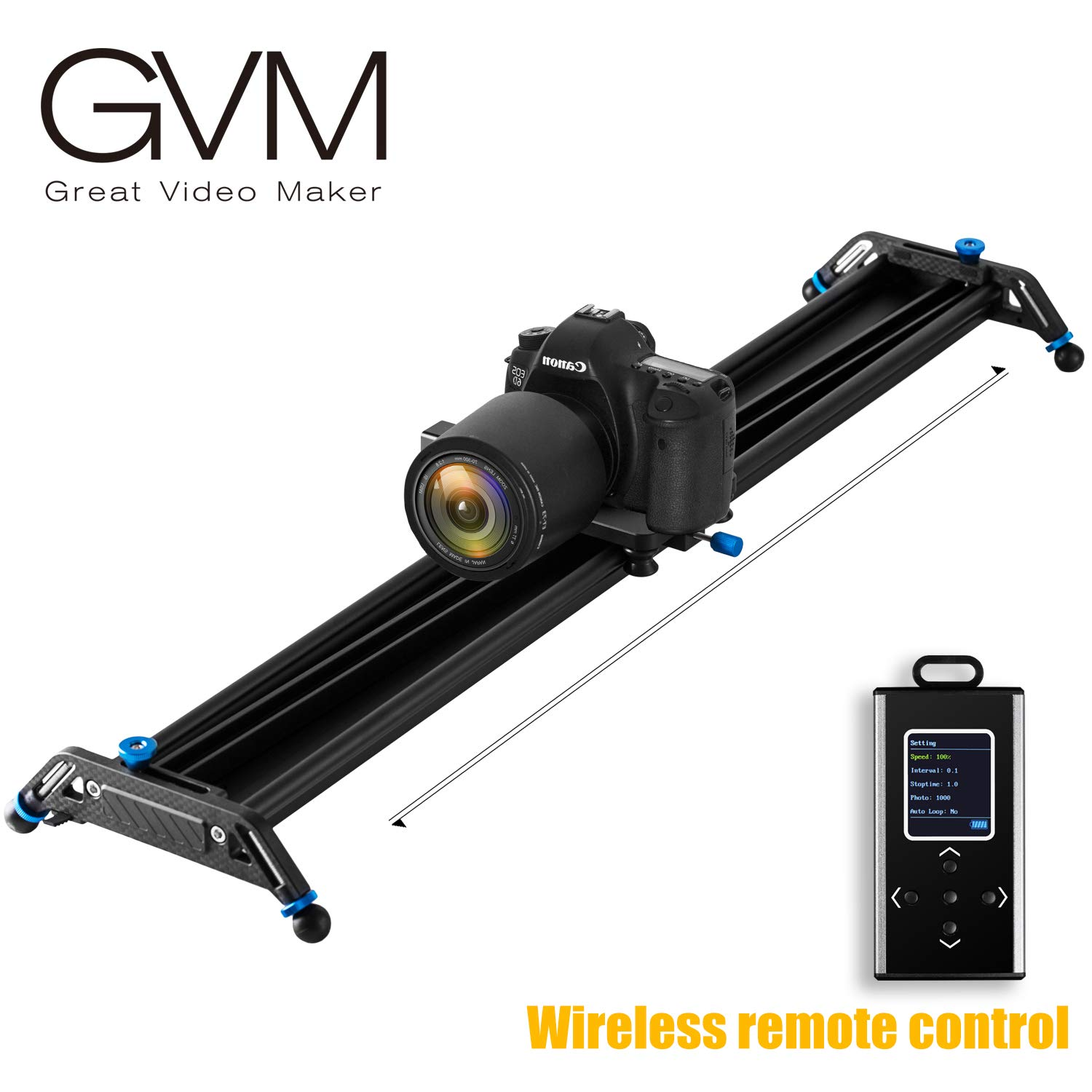 GVM Motorized Camera Sliders Track Dolly with Time Lapse Tracking and Wider Angle Video Stabilizer, Black 48''/120cm by A&J