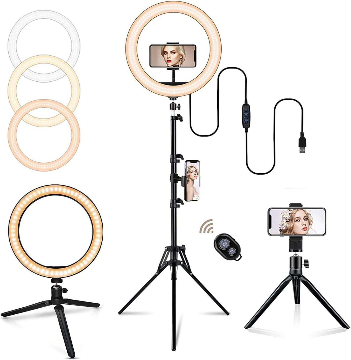 """Selfie Ring Light with Tripod Stand, 10"""" LED Ring Light with 3 Light Modes 10 Brightness, Dimmable Makeup Light for YouTube TIK Tok Live Streaming Compatible for iPhone Android Phone…"""