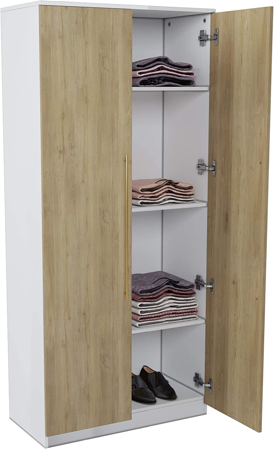 Modena Storage Cabinet and Armoire - Cabinet Storage with Customizable or Detachable Shelf - (Beige Oak/White)