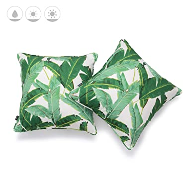 Hofdeco Outdoor Patio Decorative Throw Pillow Cover ONLY Weather Water Resistant Canvas Jungle Greenery Tropical Banana Leaf 18 x18  Set of 2