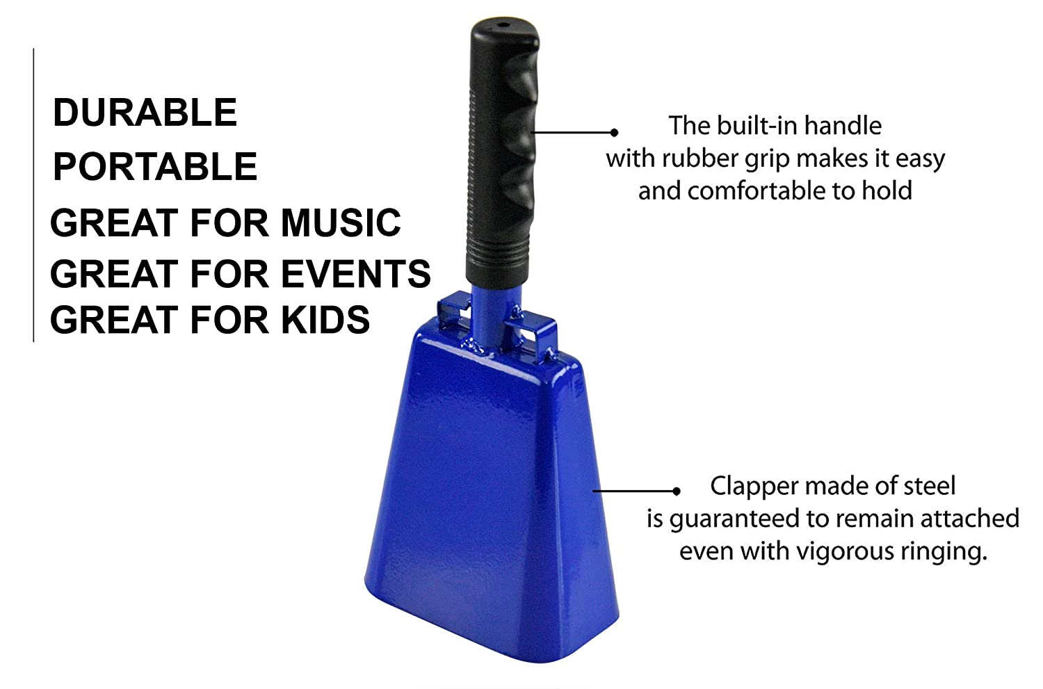 """Sporting Event Bell Blue Cheering 10/"""" L x 4 /¼/"""" W 2 /½/"""" H HOME-X Large 10/"""" Iron Cowbell with Sturdy Handle"""