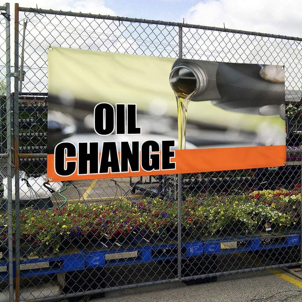 Vinyl Banner Multiple Sizes Oil Change Outdoor Advertising Printing F Business Banners Outdoor Weatherproof Industrial Yard Signs Green 10 Grommets 60x144Inches