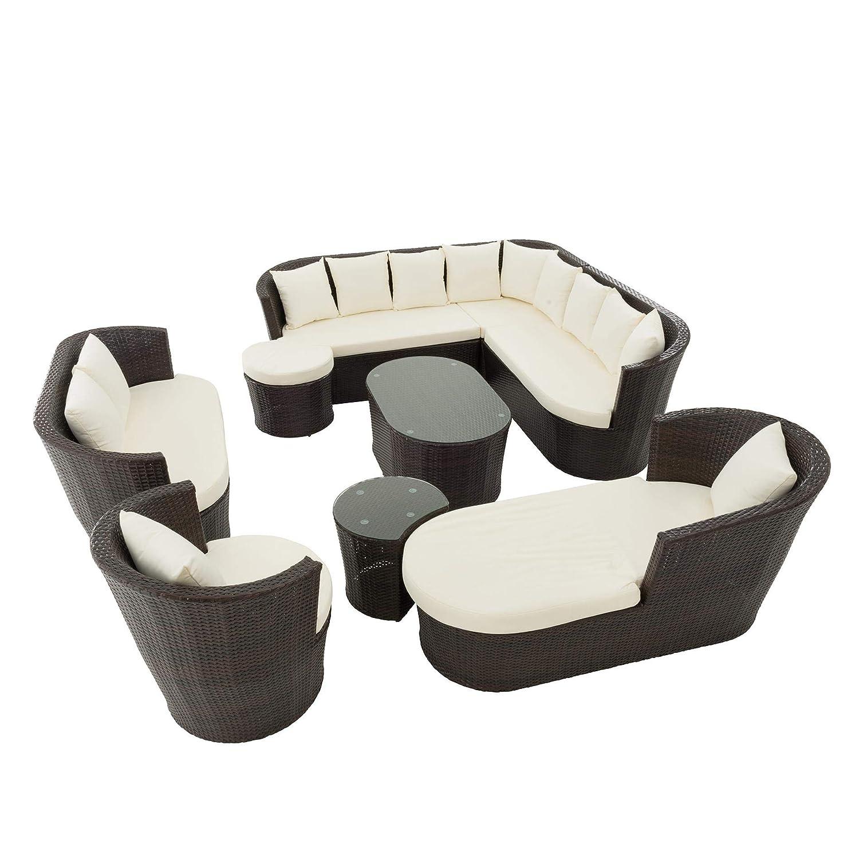 ESTEXO Polyrattan Lounge Set, braun, variabel aufstellbar, 29-teilig