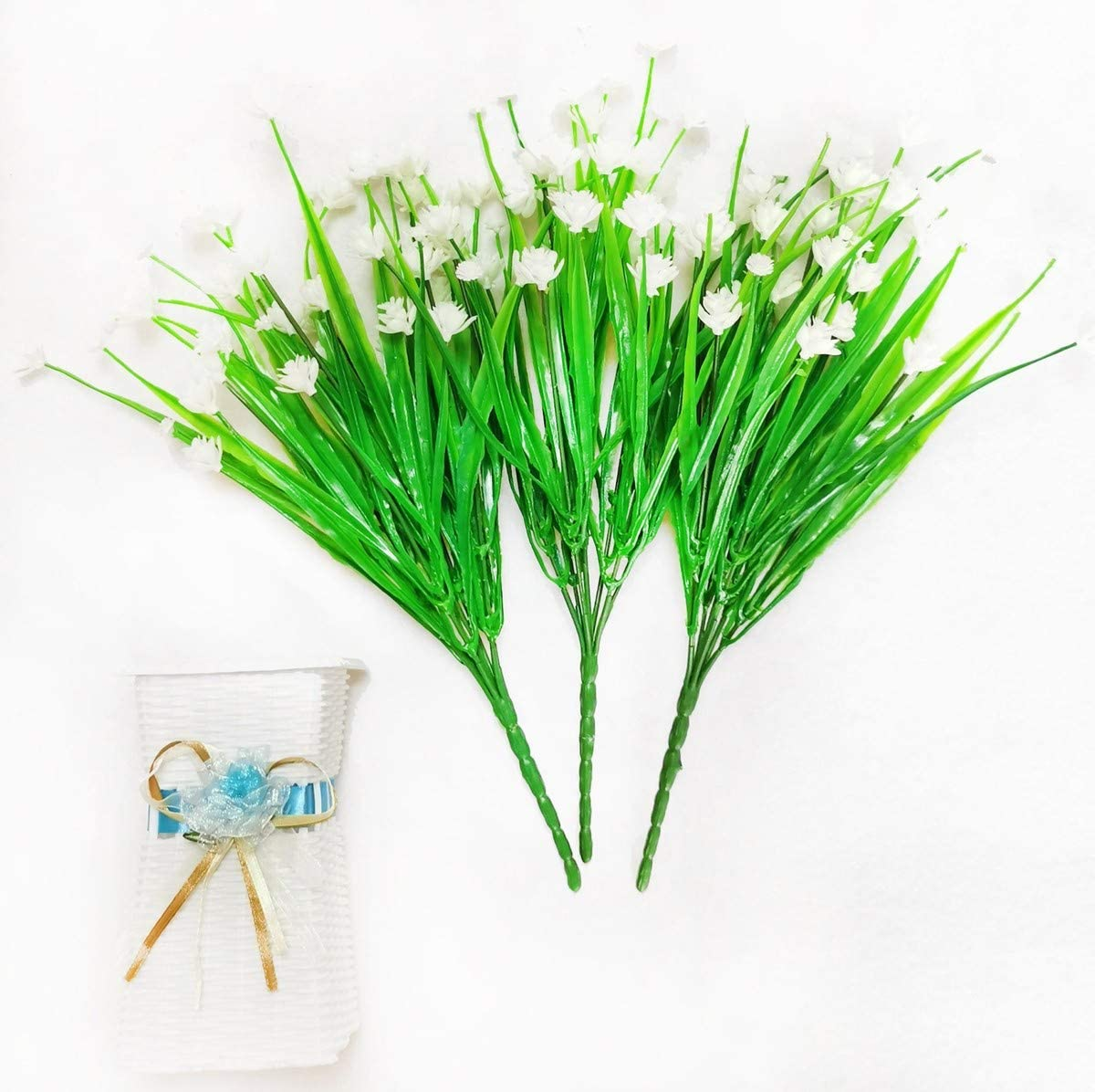 Artificial Flowers , Fake Plants Faux Plastic Bouquet Decor Greenery Shrubs Outdoor Indoor Outside Hanging Planter Home Porch Office Wedding Garden Decoration (Orchid/White)