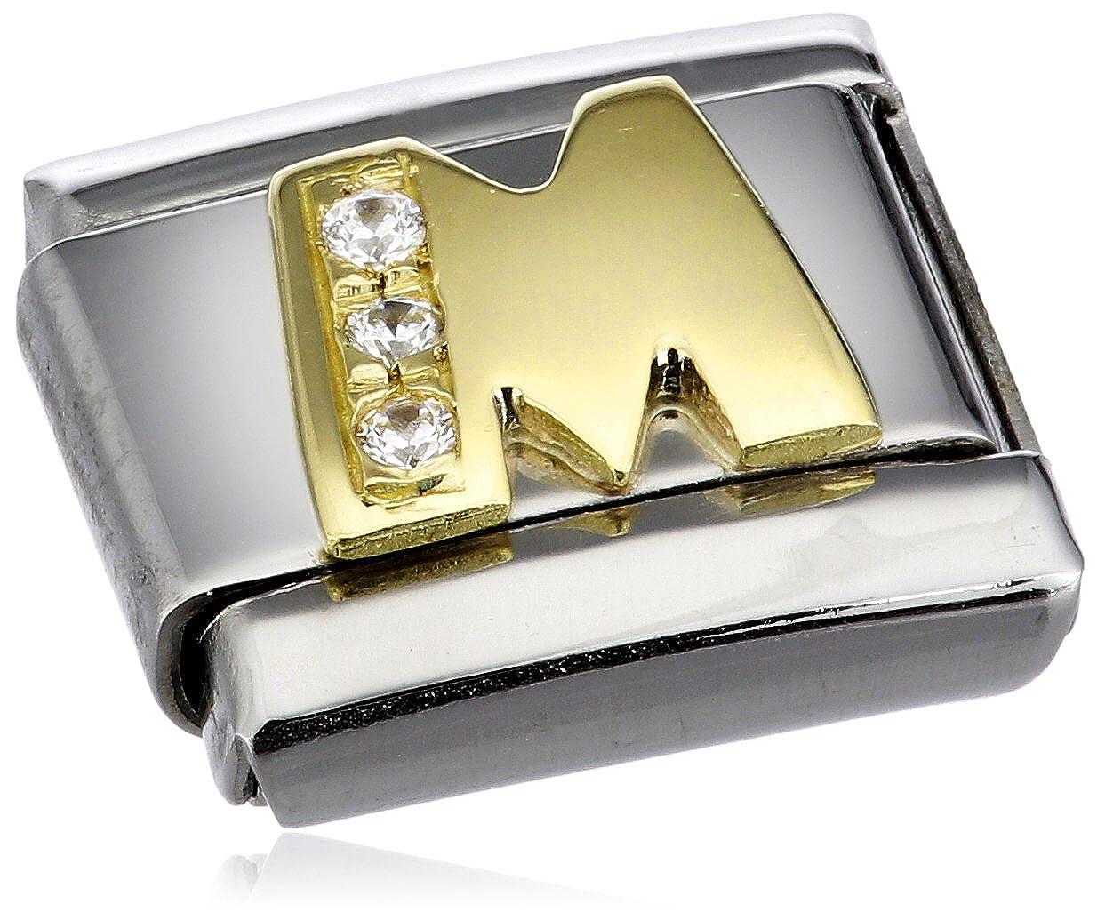 Nomination 030301 - Maillon pour bracelet composable Mixte - Acier inoxydable et Or jaune 18 cts