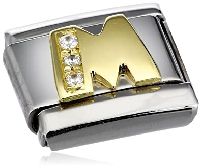 Nomination Composable Classic A Letter Stainless Steel, K Gold and Cubic Zirconium