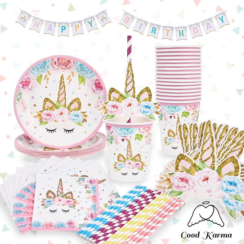 Unicorn Party Supplies Set Plus Bonus Happy Birthday Banner - Serves 16 - Pink - Perfect For Birthday Girls and First Birthdays by Good Karma Party Favors by Good Karma