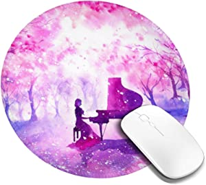 Watercolor Pink Forest Sakura Cherry Blossom Mouse Pad Round Small Mousepad for Women Girls Circular Personalized Romantic Piano Office Home Desk Decor Mat for Computer Laptop & Pc