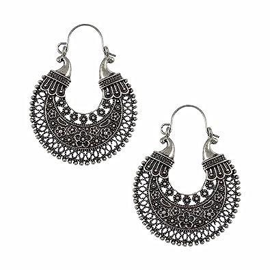 9eb78d916 Amazon.com: Efulgenz Indian Vintage Retro Ethnic Dangle Gypsy Oxidized  Silver Tone Boho Hoop Earrings for Girls and Women Love Gift: Jewelry