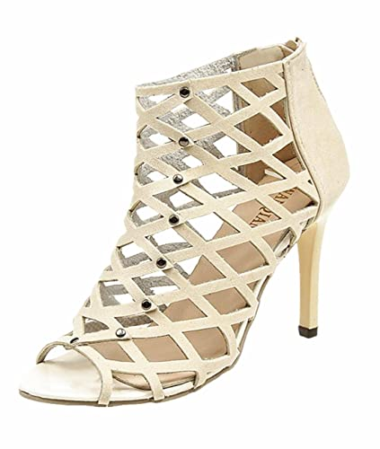 d57705a8baa Women s Fashion Peep Toe High Heels Shoes Rivet Roman Mesh Hollow Out  Gladiator Sandals Sexy Stacked