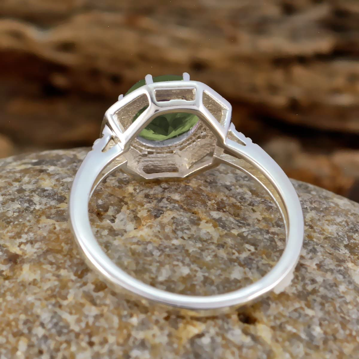 Solid Silver Green Peridot Good Gemstones Ring Handmade Jewelry Great Selling Shops Gift Birthstone Ring Good Gemstones Round Faceted Peridot Ring
