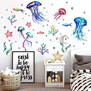 Under The Sea Jellyfish Wall Sticker Ocean Fish Removable Wall Decal for Baby Kids Bedroom Decor