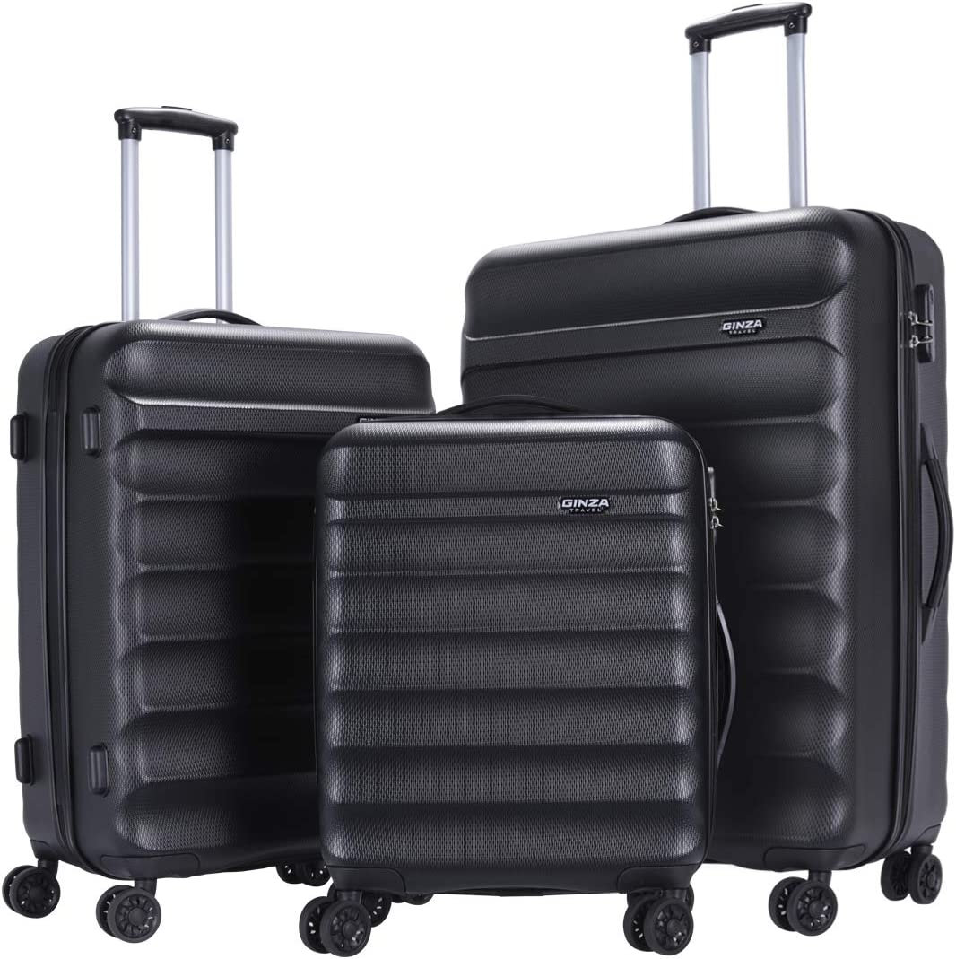 GinzaTravel Anti-scratch ABS Material Luggage 3 Piece Sets Lightweight Spinner Black color Suitcase 20in 24in 28in
