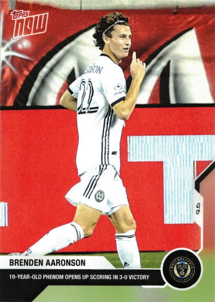 amazon com 2020 topps now mls soccer 21 brenden aaronson rookie card union only 849 made collectibles fine art 2020 topps now mls soccer 21 brenden