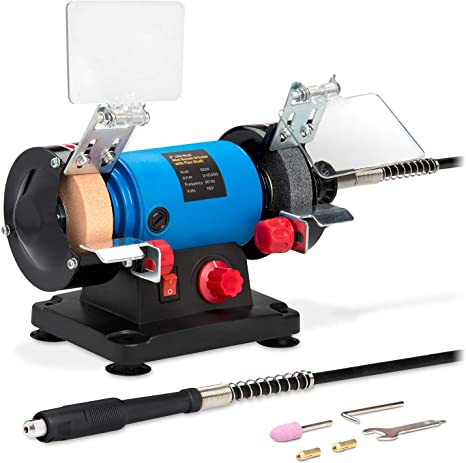 Rotary Tool Saw 1.67A Variable Speed Bench Grinder for Knife Polishing and Rust Removing Drill Electric Grinder with Flexible Shaft for Sharpening TACKLIFE Multifunctional Sharpener Graving