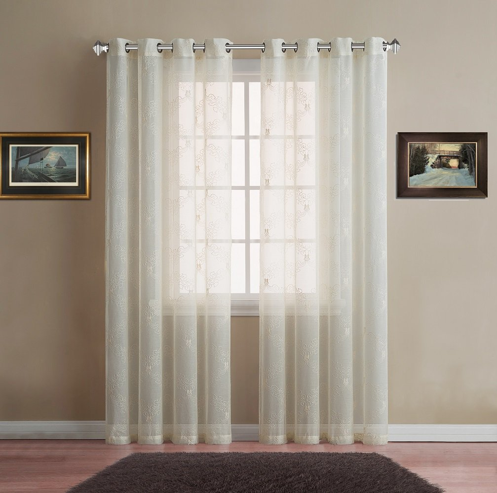 Warm Home Designs Sheer Beige Faux-Linen Long Size Curtain Panel with Beige Embroidery for Bedroom, Kitchen, Kids Room or Living Room. Each Drape with Grommets Measures 54'' by 96''. Beige-Beige 96