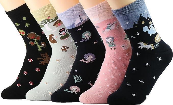 Novedad calcetines de algodón Tropa Unicornio Buho Gato Granja ...
