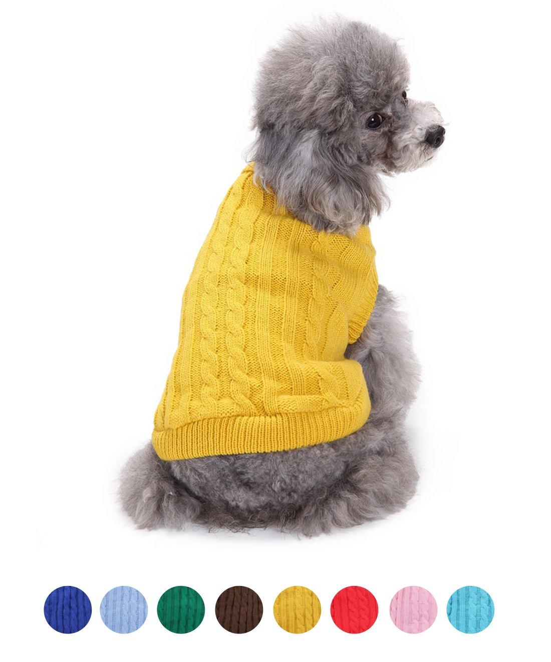 FishBabe Pull d'hiver à col haut pour petit chien, couleur uni, tricoté, mode casual, convient pour les activités en extérieur et en intérieur, résistant, col rabattu en tricot, habit à deux pattes, conçu pour les races teckel, pinscher nain, corgi et shih