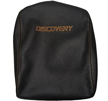 ARMREST COVER BLACK ITALIAN LEATHER BEIGE DISCOVERY LOGO EMBROIDERY