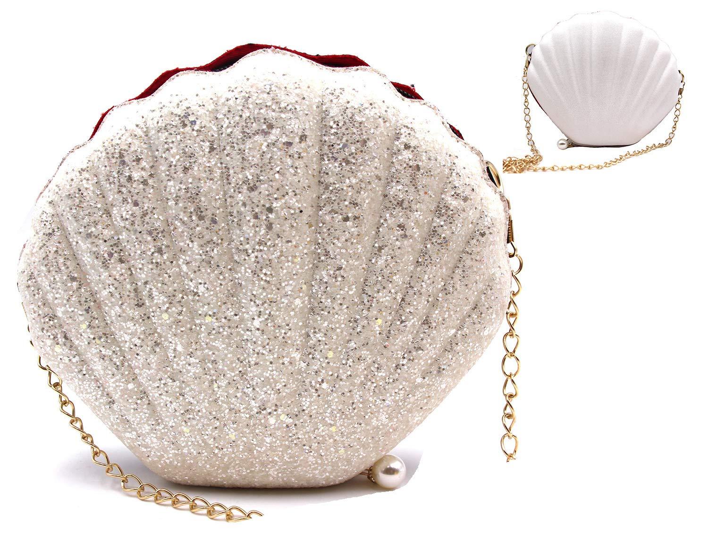 ویکالا · خرید  اصل اورجینال · خرید از آمازون · Shining Seashell Shape Double-Side Shoulder Crossbody Bag with Chains(WHITE) wekala · ویکالا