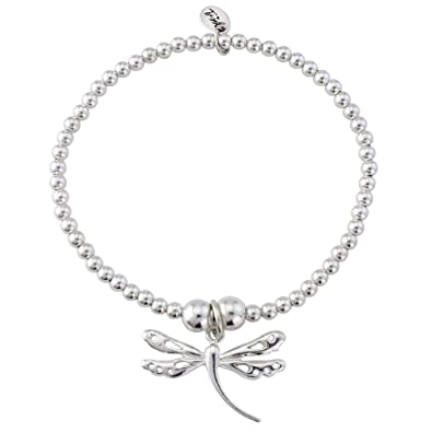 Trink Brand Large Dragonfly Sterling Silver Beaded Charm Bracelet d86DoQ