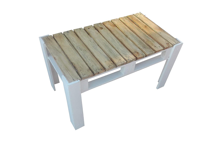Mesa de Palets Pintada en Color Blanco y Barniz - Mesitas & Mesas Modernas de Centro & Auxiliares de Madera de Pales - Muebles De Palets para Jardin & ...