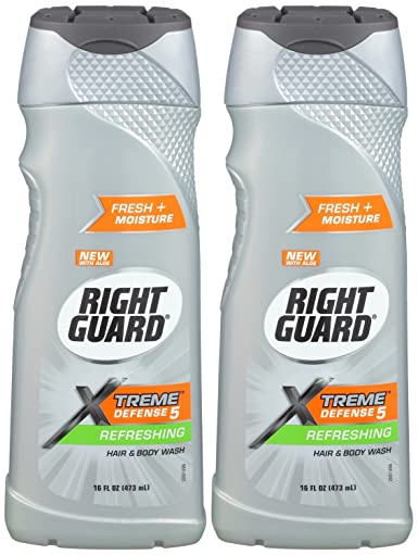 Right Guard Xtreme 5 Defense Refreshing Hair and Body Wash 16 Ounce (2 Pack)