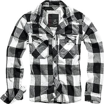 Brandit Camisa a Cuadros Hombre Camisa de Franela Verde-Negro, Labelpatch Regular