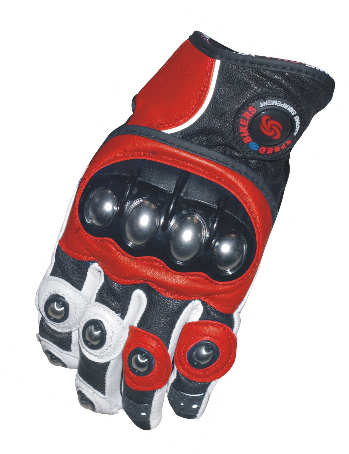 Dernen Sports Leather Motorcycle Racing Motorbike Gloves (Red, L)