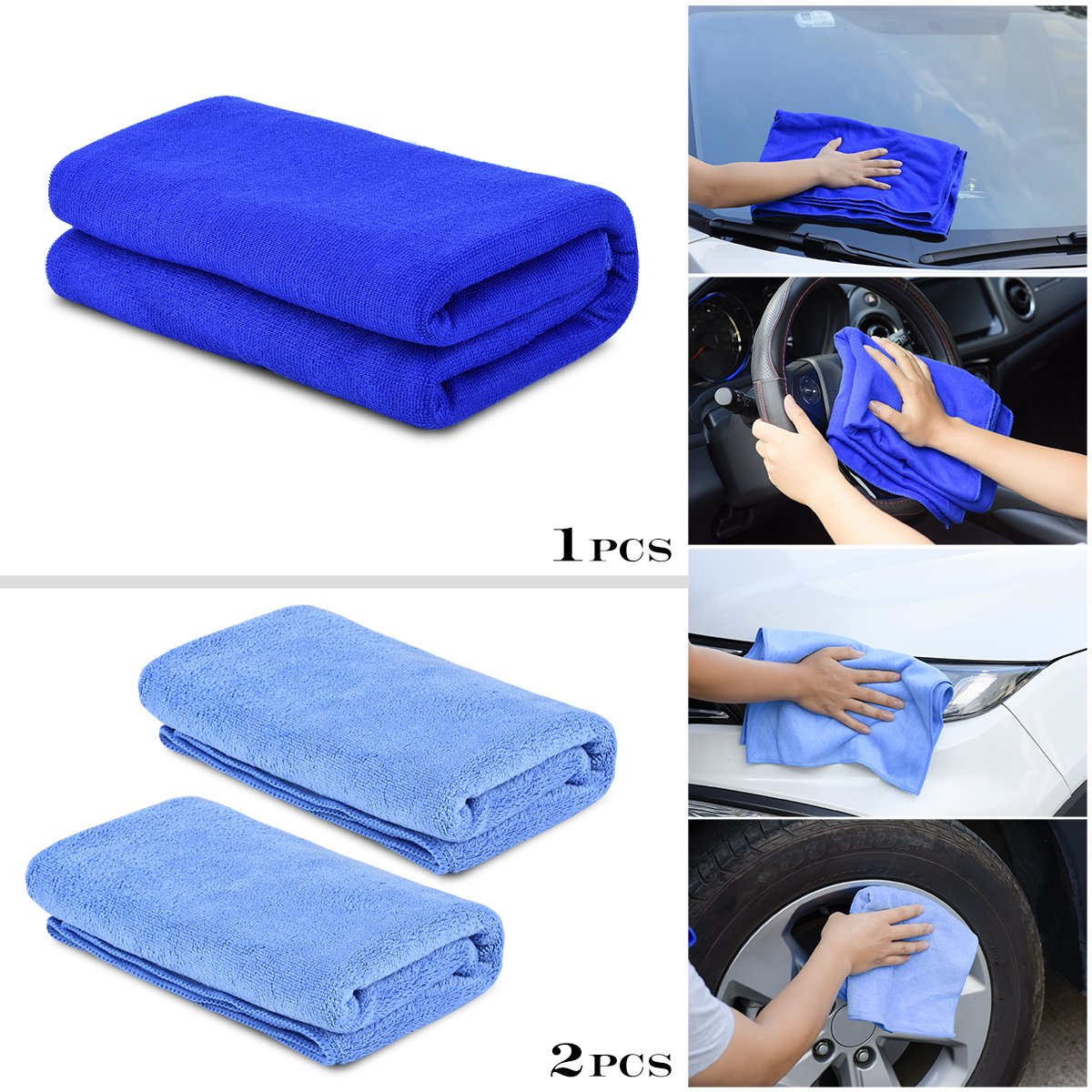Wietus Microfiber Car Cleaning Towel Fast Drying Auto Datailing Towel All-Purpose Home & Car Cleaning Scratch & Dust-Free, 3-pack (Long*1pcs, Short*2pcs)