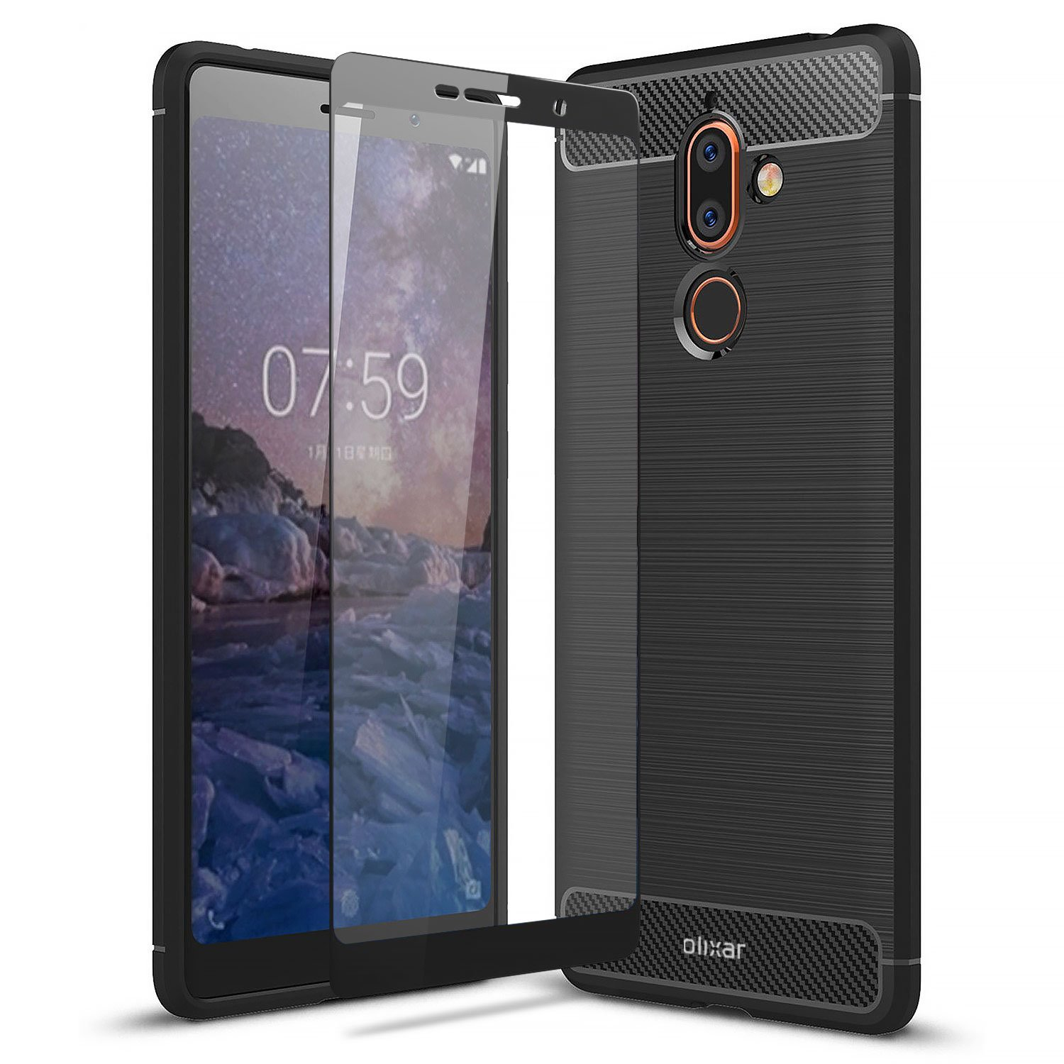 Olixar Nokia 7 Plus Case With Screen Protector - Case Compatible Tempered Glass - Tough Case - Front + Back 360 Degree Protection Sentinel - Black by Olixar (Image #1)