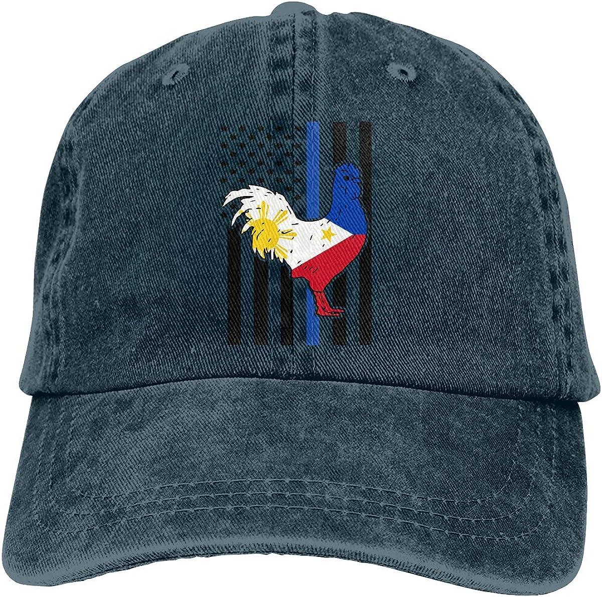 PMGM-C Philippines Flag Rooster Blue Thin Line Flag Adult Trendy Denim Hip Hop Cap Adjustable Baseball Cap