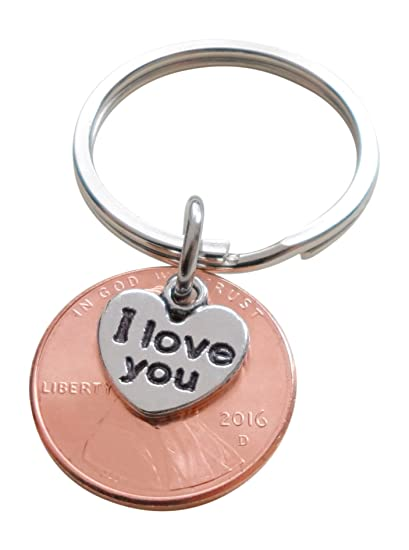Amazon I Love You Heart Charm Layered Over 2016 Us One Cent