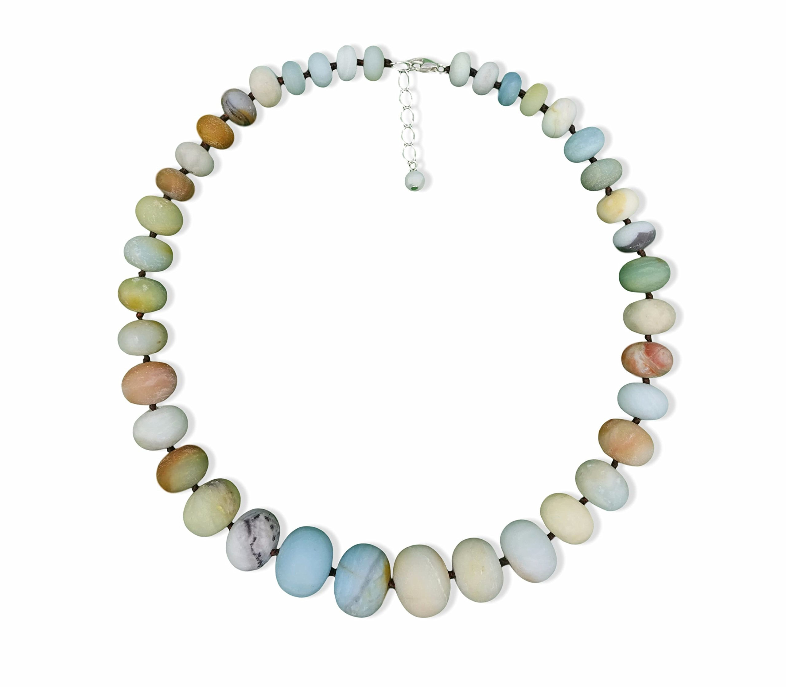 Natural Matte Amazonite Graduated Beaded Statement Necklace, 19'' Long.
